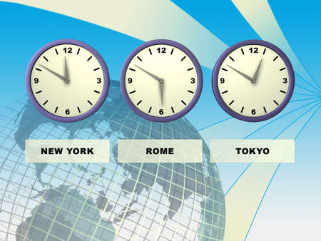 lag: Three clocks showing different time zones, Earth on background. Digital illustration.
