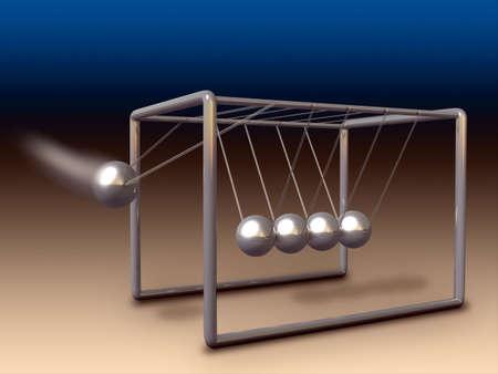 oscillation: Newtons cradle experiment. Digital illustration.