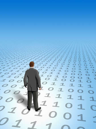 decode: Businessman finding his way in cyberspace. Digital illustration.