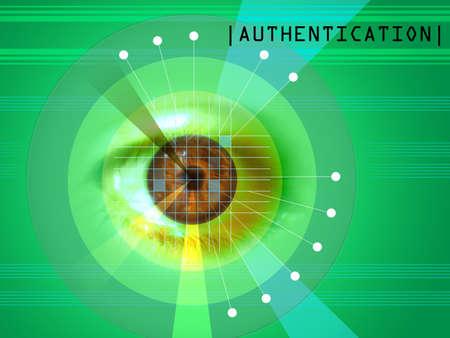 retina: Retina scanning as a security system. Digital illustration. Stock Photo