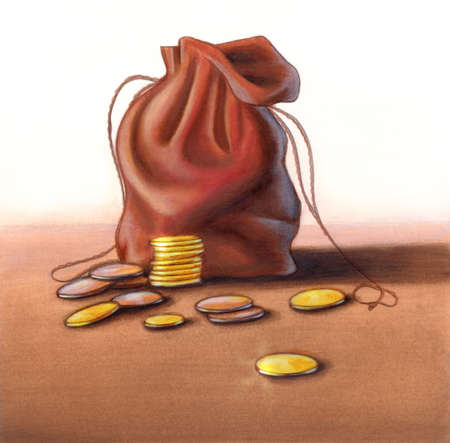 Coins and leather pouch over a flat surface. Hand painted illustration, digitally enhanced.