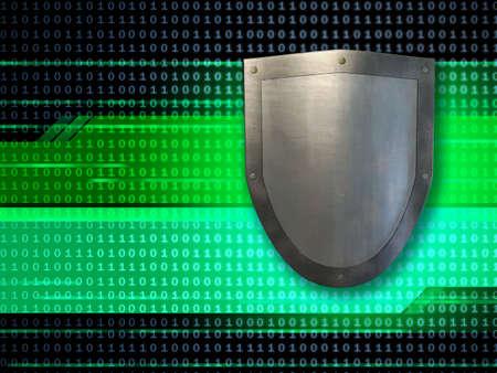 Metal shield protecting data streams. Digital illustration.