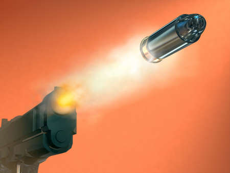 gun shell: Disparando una pistola bullett. Ilustraci�n digital.