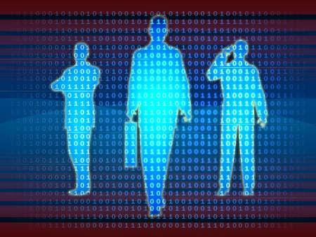 Bussinesman silhouettes emerge from a binary data stream. Digital illustration.
