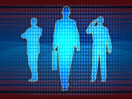 Bussinesman silhouettes emerge from a binary data stream. Digital illustration. Stock Illustration - 1744412