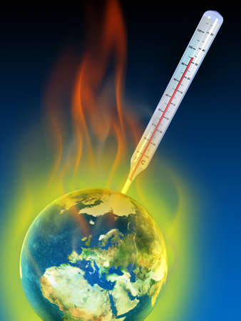 Thermometer measuring planet earth temperature. Digital illustration. Stock Illustration - 1744397