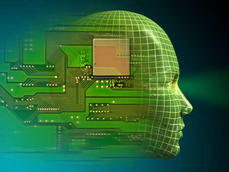 processors: Wireframe head and printed circuit. Digital illustration
