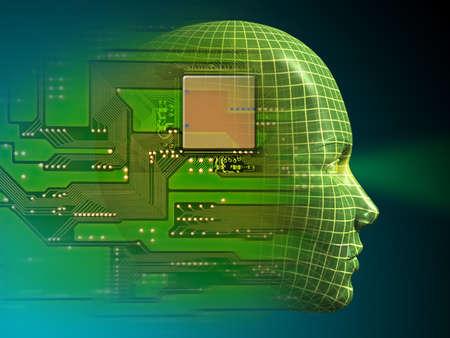 vision future: Wireframe hoofd en gedrukte schakelingen. Digitale illustratie
