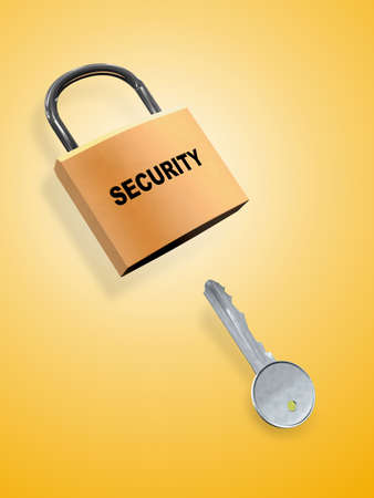 Key and security lock. Digital illustration. Stock Illustration - 2097286