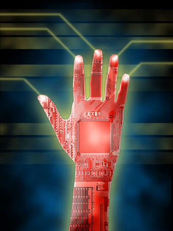cybernetic: Open cybernetic hand. Printed circuits visibile. Digital illustration. Stock Photo