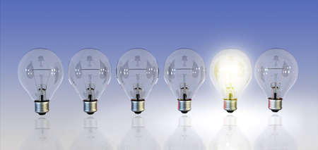 different thinking: A row of light bulbs, one turned on. Digital illustration.