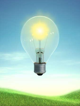 The sun in a light bulb. Digital illustration. Reklamní fotografie