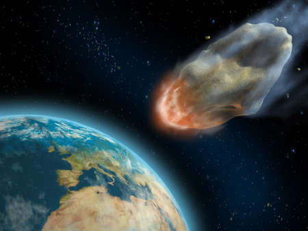 asteroid: Asteroid about to impact on earths surface. Digital illustration. Stock Photo