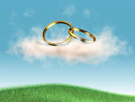 rolling landscape: Wedding rings on a puffy cloud. Digital illustration.