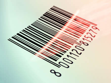 Laser beam reading a printed barcode. Digital illustration Reklamní fotografie