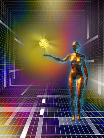 thinking machines: Female figure holding a data sphere in cyberspace. Digital illustration Stock Photo