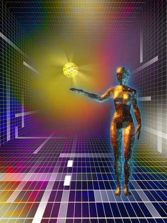 Figure f�minine tenant une sph�re donn�es dans le cyberespace. Digital illustration  Banque d'images