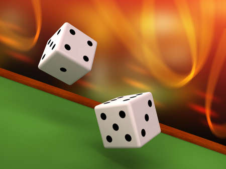rolling: Dices rolling on felt table. Digital illustration. Stock Photo