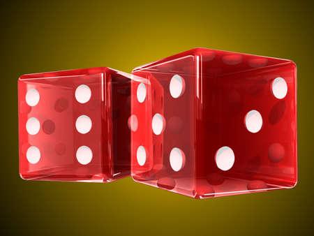 Transparent red plastic dices photo