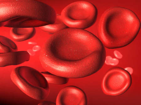 Blood cells stream. Digital illustration. Stock Illustration - 2520258