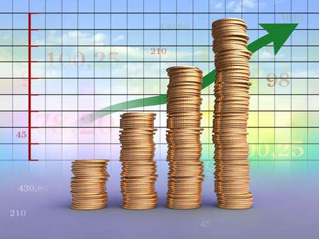Tas de pi�ces sur un graphique financier. Digital illustration.