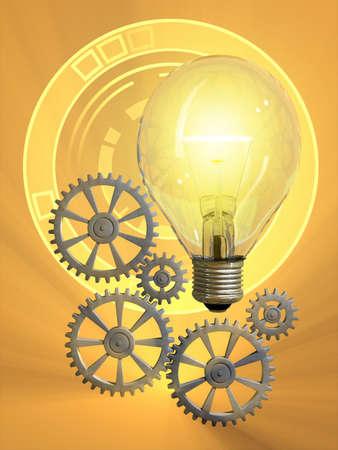 Light bulb and gearwork. Digital illustration. Reklamní fotografie