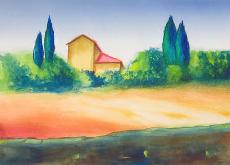 COuntry landscape in Tuscany, Italy. My original hand painted illustration. Stock Illustration - 2520259