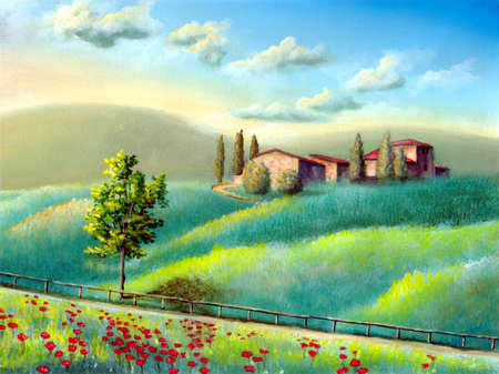 Farmland in Tuscany, Italy. My original hand painted illustration. Stock Illustration - 2520266