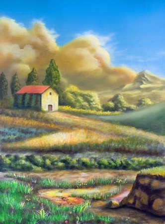 cypress tree: Farmland in Tuscany, Italy. My original hand painted illustration.
