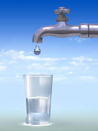 Dripping robinet d'eau et de verre. Digital illustration.