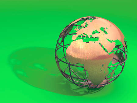 Earth metal model on green surface. Digital illustration. Stock Illustration - 2520256