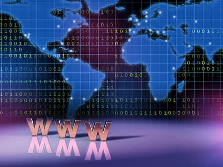 decode: World wide web symbol in front of a world map. Digital illustration. Stock Photo