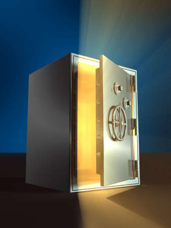 Warm light coming from inside an open safe. Digital illustration.