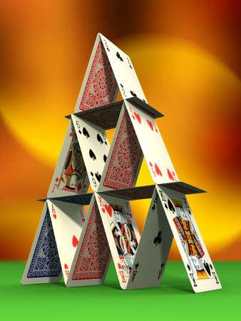 Card castle on felt table. Digital illustration