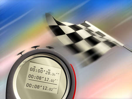 motorsport: Digital chronometer and race flag on blurred background. Digital illustration. Stock Photo