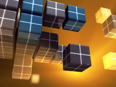 Data cubes floating in a light filled space. Digital illustration. illustration