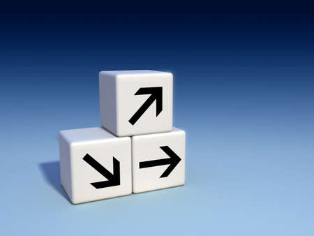 straight path: Arrows on cubes, indicating different directions. Digital illustration. Stock Photo