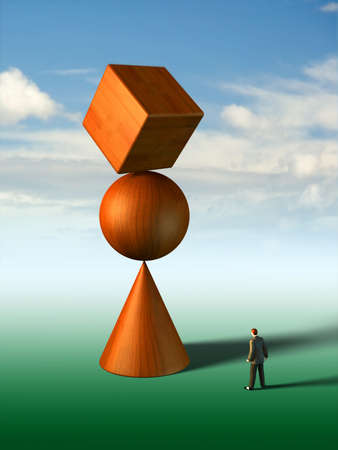 exactness: Businessman looking at a strange basic shapes construction. Digital illustration.