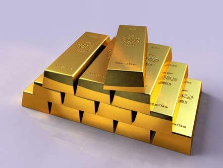 Some gold bars on a reflective surface. Digital illustration.
