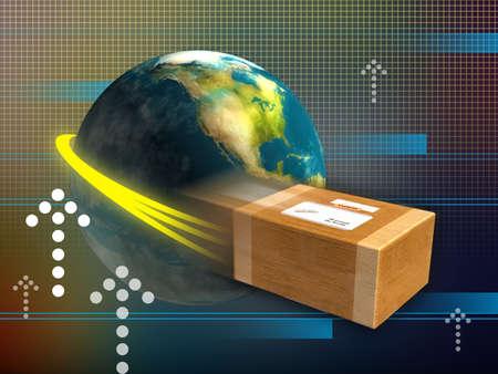 Schnelle Lieferung-Paket rund um die Welt. Digitale Illustration.