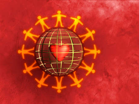 People silhouettes holding hands around a sphere. Heart visible inside the sphere. Digital illustration Stock Photo