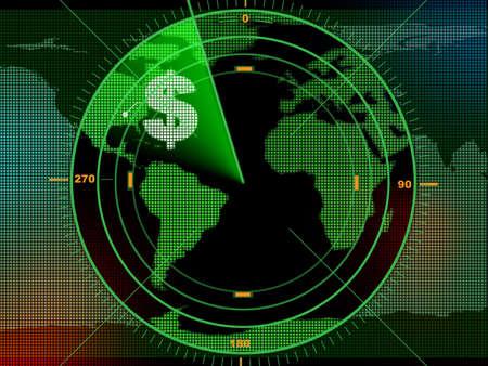 locating: Radar screen locating business opportunities over the world. Digital illustration.