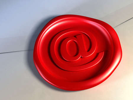 E-mail red seal closing an envelope. Digital illustration. Stock Illustration - 2972536