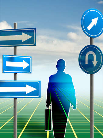 career path: Businessman deciding wich direction to take. Digital illustration. Stock Photo