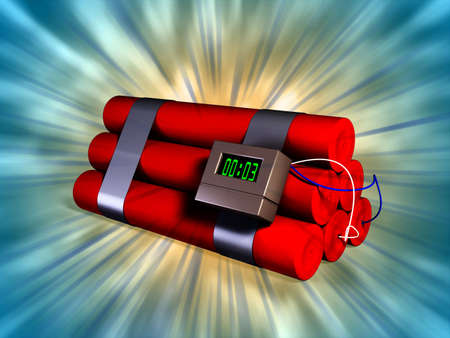 Electronic timer connected to some explosive sticks. Digital illustration. Stock Illustration - 2972538