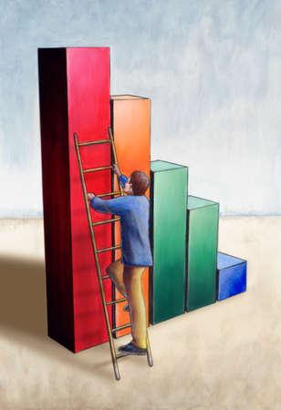 imperialism: Businessman using a ladder to climb on the highest bar of a chart. My original hand painted illustration. Stock Photo