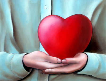 forgiving: Hands cupped holding a big heart. My original hand painted illustration.