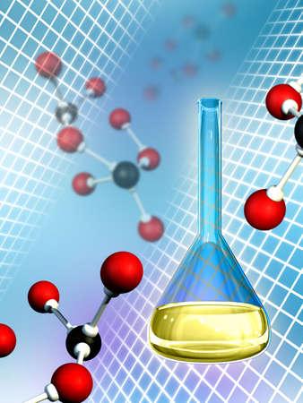 Molecules and lab flask. Digital illustration. Stock Illustration - 2972546