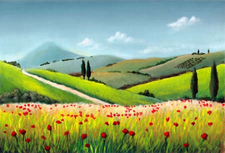 Farmland in Tuscany, Italy. Original hand painted illustration. Stock Illustration - 2972557