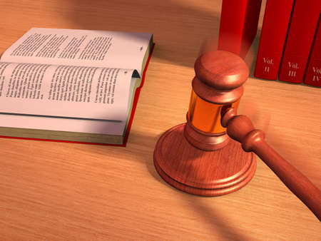 warrant: Gavel and law books on a table. Digital illustration.